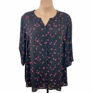 Catherines Black Red Butterfly Blouse 2X NWT